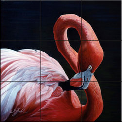 The Tile Mural Store (USA) - Tile Mural - Figure 8 Flamingo  - Kitchen Backsplash Ideas - This beautiful artwork by Wilhelm Goebel has been digitally reproduced for tiles and depicts a closeup of a colorful Flamingo    Images of waterfowl on tiles are great to use as a part of your kitchen backsplash tile project or your tub and shower surround bathroom tile project. Pictures of egrets on tile, images of herons on tile and decorative tiles with ducks and geese make a great kitchen backsplash idea and are excellent to use in the bathroom too for your shower tile project. Consider a tile mural of water fowl for any room in your home where you want to add interesting wall tile.