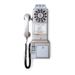 "Crosley - 1950's Classic Pay Phone - Brushed Chrome - Dimensions: 18.25"" H x 6.5"" D x 9"" W"