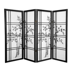 Oriental Furniture - 4 ft. Tall Bamboo Tree Shoji Screen - Black - 4 Panels - A graceful bamboo tree design has been printed on the rice paper panels of this folding Shoji screen. This image is complemented by a stylish double-cross wooden lattice. This screen is the latest in a thousand year old tradition of using Shoji paper as a room divider, and its beauty, privacy, and light weight design will add a functional, cosmopolitan accent to any room.