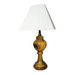 Yellow Glazed Ceramic Lamp - Light up your life with this unapologetically hip vintage lamp! This medium sized yellow vintage lamp is made of glazed ceramic in mustardy yellow, brown, and green hues. Earthy and warm, this lamp has great vintage style!