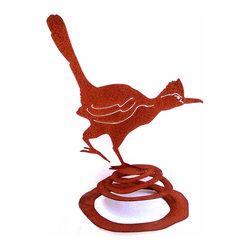 Z Garden Party, Inc. - Roadrunner on Spring garden art sculpture - This roadrunner on spring runs along with the slightest wind. He is hand made in the USA from heavy rusted steel. The dimensions listed are before the spring is sprung. He is designed by California artist Susan Regert.