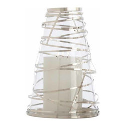 """Arteriors - Arteriors Home - Tory Large Steel Wrapped Hurricane - 6592 - Glass hurricane candle holder wrapped in ribbons of steele. Features: Tory Collection HurricanePolished NickelClearLarge Steel Wrapped Some Assembly Required. Dimensions: H 16 1/2"""" x 11 1/2"""" Dia"""