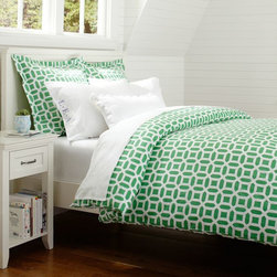 Peyton Duvet Cover, Kelly Green - I like the geometric shape in this emerald green comforter. It would be great in a guest room or your teen's room, boy or girl.