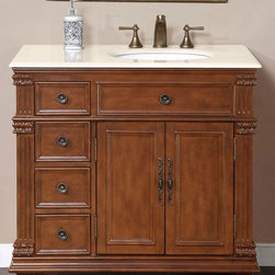 Silkroad Exclusive - Esther 22 in. Single Sink Bathroom Vanity Cab - Faucet not included. Transitional style. Pre-drilled for three-hole, 8-in. widespread faucet. Four drawers and two door storage with shelves. Undermount UPC certified white ceramic right side sink. Cream marfil marble stone counter top. Antique brass hardware finish. Big cutout back for plumbing installation. 30 days manufacturer limited warranty. Made from wood, CARB Ph2 certified plywood and MDF panels. Distressed vermont maple finish. No assembly required. 36 in. W x 22 in. D x 36 in. H (163 lbs.)This Victorian design single sink vanity has ample storage room. Bring uniqueness and functionality with this elegant single sink vanity to your bathroom.