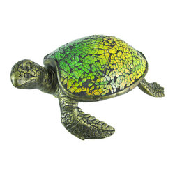 Zeckos - Cute Mosaic Green Glass Sea Turtle Accent Lamp - This beautiful green stained glass sea turtle shaped lamp adds the perfect accent to desks or nightstands of turtle lovers. Measuring 3 1/6 inches tall, 8 inches long and 6 inches wide, the lamp features an antiqued bronze finished resin base of the turtle's head, legs and tail, with the shell made of tiny bits of green glass. The lamp is brand new, never used or displayed. It uses one nightlight style bulb (included). It makes a great gift idea. We have a very limited supply of these, so don't delay. Get yours now!