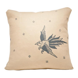Cricket Radio - Indochine Friendship Bird Pillow, Wheat/Charcoal - A whimsical flight of fancy for your sofa, chair or bench, this pillow comes in your choice of two color combinations and features a removable down insert. The bird design is hand-printed on pre-shrunk Italian linen that gets softer with use and cleaning. Sink in to classic, handmade style.