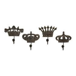 "IMAX - Regent's Crown Hooks - Set of 4 - Set of four porcelain crown hooks fit for a king. Item Dimensions: (6-6.25""h x 5.5-5.75-6-6.25""w x 2.75"")"