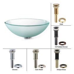 Kraus - Kraus Frosted Glass Vessel Sink with PU-MR Gold - *Fashionable bathroom sink is the perfect harmony of elegance and style