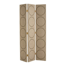 """Arteriors - Arteriors Emory Room Screen - The Arteriors Emory screen offers the stylish interior geometric influence. Textured with linen, the three-panel divider features circular brass stud designs for metallic modernity. 16.5""""W x 1""""D x 84.5""""H; Brass hinged hardware"""