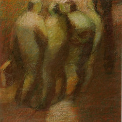 Four Figures, C. 1990, Painting - Oil painting of four figures under a light by French artist Bidaud, circa 1990. Signed lower right.
