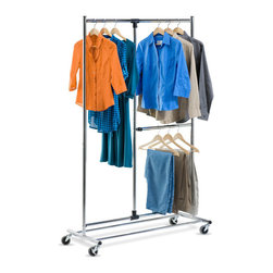Honey Can Do - Honey Can Do GAR-01702 2-tier Garment Rack - This Honey Can Do garment rack offers up to 80 inches of flexible storage to hang long and short garments on two hanging bars. This rack has durable wheels for easy movement and is made of heavy-duty steel that is sturdy and rust-resistant.