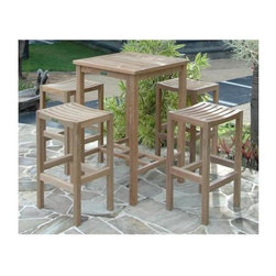 Anderson Teak - Avalon Unfinished 27 in. Square Bar Table Set - Includes table and 2 barstools. Teak wood construction. Pictured with 4 barstools. Table: 27 in. L x 27 in. W x 42 in. H (42 lbs.). Barstool: 18 in. L x 14.5 in. W x 30 in. HThe Avalon bar table and backless bar chairs are ingenious combination. It designed fits for 4 people. The bar chair features a comfortably sculpted seat and sturdy footrest for going up and down. Add all-weather Sunbrella cushion for comfort. Enjoy the rest of the evening accompany with family and friends. Place this bar set in your backyard and it will be the center of your conversation which will amazed your family or friends.