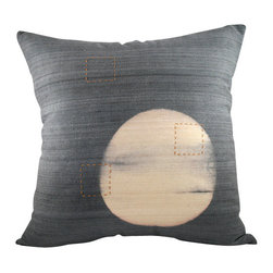 BZDesign - Logwood Embroidered Silk Pillow - This simply elegant silk pillow will easily fit into any contemporary setting!