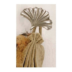 The Merchant Source - Fabric Tab Top Holder - Almond Leaf (Gilded Gold) - Finish: Gilded Gold. Pictured in Antique Silver finish. Made of Resin. 2.5 in. L x 2 in. W (1 lbs.)
