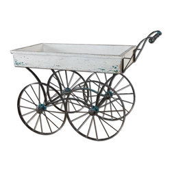 Uttermost - Uttermost Generosa Weathered Flower Cart - Forged iron wheel base and handle with traces of turquoise broken away to weathered black undertones and an antiqued white wooden cart box.