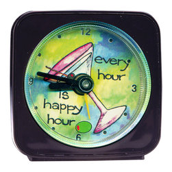 Happy Hour Alarm Clock - Made from an original painting, each clock is 2.25'' square with a round face. The second hand is a small image, which floats magically around the clock face. On our Happy Hour Alarm Clock an olive floats around the martini as it counts the seconds. Each alarm clock comes in a gift box and includes a free battery. Made in the USA. (Be sure to look for our Happy Hour wall clock and magnets, too!)