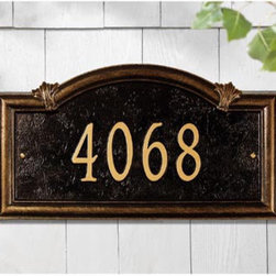 Somerset Arch Address Sign - An address plaque adds beauty and prestige to any home's facade.  This piece is especially elegant with antique gold lettering on a black background.