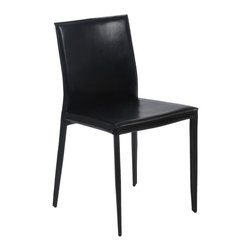 Eurostyle - Shen Side Chair (Set Of 4)-Blk - The holidays aren't the only time your dining room has to look its best. These carefully crafted leather chairs look modern and swanky with a glass table — and more refined and classic with a more traditional wood table.