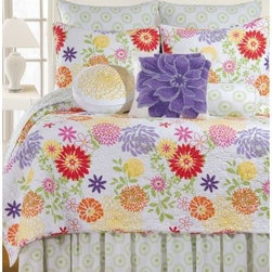 C and F Enterprises Lilly Bedding Set - A sassy breath of fresh air for your bedroom, this C and F Enterprises Lilly Bedding Set is a modern and feminine joy to behold. This quilt and coordinating bedding collection is filled with bright colors and is perfect for your bedroom suite. Flowers of purple, yellow, pink, orange, and green pop against the crisp white background. The quilt reverses to a white with green modern pattern. This luxurious bedding collection is made of comfy cotton and is machine-washable. Make it your own by adding on the pieces you like best. A coordinating dust ruffle, pillow shams, and a variety of plump decorative throw pillows make it complete. This bedding set comes in your choice of size.Quilt Dimensions:Twin: 86L x 66W inchesFull/Queen: 92L x 90W inchesKing: 108L x 92W inches