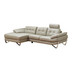 ESF - ESF Dallas Full Light Grey Top Grain Italian Leather Sectional Sofa - The ESF Dallas sectional sofa will add a stylish modern look that works well with any decor. This sectional comes fully upholstered in a beautiful light grey top grain Italian leather. High density foam is placed within the cushions for added comfort. The backrests feature a stylish tufted design that adds to the overall look.= Only solid wood products were used when crafting the frame making the sofa a very durable piece.