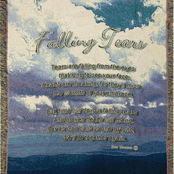 Manual - Falling Tears Bereavement Memorial Tapestry Blanket 50 Inch x 60 Inch - This multicolored woven tapestry throw blanket is a wonderful addition to any home. Made of cotton, the blanket measures 50 inches wide, 60 inches long, and has approximately 1 1/2 inches of fringe around the border. The blanket features a print of a beach, with a poem called 'Falling Tears', by Ron Tranmer running down the center. Care instructions are to machine wash in cold water on a delicate cycle, tumble dry on low heat, wash with dark colors separately, and do not bleach. This comfy blanket makes a great gift for anyone who has recently suffered a loss.