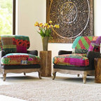 """Viva Terra - Patchwork Seat & Back with Java Linen Base - The vibrant patchwork fabric of our chairs originates from vintage cotton saris. Indian textile artisans sew them into colorful quilts using kantha, a traditional running stitch embroidery. Each unique, comfortable and totally eco chair is also constructed with organic linen upholstery fabric, recycled fibers, down pillow fill, and certified kiln-dried hardwood frames. Joints are double-doweled and every corner is blocked, screwed and glued. The chair's bottom is studded where fabric attaches to frame; removable covers protect the armrests. 32""""W x 32""""D x32""""H"""