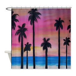 usa - Sun Set Palms Shower Curtain - Beautiful shower curtains created from my original art work. Each curtain is made of a thick water resistant polyester fabric. The permanently applied art work appears on the front side with the inside being white. 12 button holes for easy hanging, machine washable and most importantly made in the USA. Shower rod and rings not included. Size is a standard 70''x70''