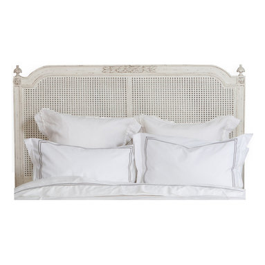 Eloquence - Blanka French Country White Washed Elegant Caned King Headboard - Lay down for sweet dreams against this classic French-style headboard. Simplicity at its finest, this caned, whitewashed piece will provide the sense of peace you need to drift off to the Land of Nod.