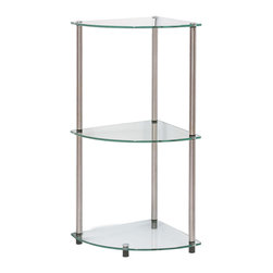 Convenience Concepts - Convenience Concepts Classic Glass 3-Tier Corner Shelf - Contemporary styling is the essence of Accsense glass furniture. Easy and simple to assemble. The clean, sleek lines define the 157006 Glass 3 tier corner shelf. Manufacturer: Convenience Concepts. Brand: Convenience Concepts. Part Number: 157006/R2-170. UPC: 095285402007