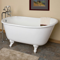 """53"""" Carine Cast Iron Swedish Slipper Clawfoot Tub - The 53"""" Carine Cast Iron Swedish Clawfoot Tub features a subtle slipper shape and is set on lovely ball-and-claw feet."""