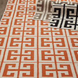 "Horchow - ""Oran Greek Key"" Flatweave Rug - Bold color and an on-trend Greek-key pattern make this flatweave rug an ideal choice for today's lifestyle. Handwoven of wool. Select color when ordering. Sizes are approximate. Imported. See our Rug Guide for tips on how to measure for a rug,...."