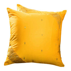 Indian Selections - Set of 2 Yellow Decorative Handcrafted Sari Cushion Cover, 26x26 inches - 6 Sizes available