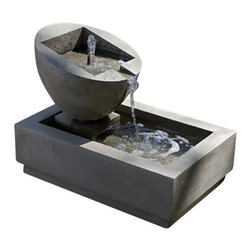 Campania - Genesis 2 Garden Water Fountain, Alpine Stone - The Genesis 2 Garden Fountain will surely get anyone's attention in any outdoor setting. This water fountain is simple yet dramatic and striking. This fountain will grow more beautiful as it ages and will last for many years of generation. It is produced with superb craftsmanship, inspired design, detailed structure and pleasant water sound that makes this fountain a relaxing addition to any outdoor space.