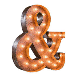 Vintage Marquee Lights - Vintage Marquee Lights Ampersand Vintage Marquee Light - Ampersand Vintage Marquee LightTurn up the lights to find your design spark! With the Ampersand Vintage Marquee Light, you can enjoy whimsical, eclectic-chic style. This light is made from distressed, rusted metal and is shaped into an ampersand symbol. It has an authentic look, as if it were truly plucked from a salvage yard or taken off of an old business sign. Stand it up on a high shelf, or mount it on your wall as vintage-inspired art. You can use it connect numbers and letters, or just let it draw attention to a storefront. And that's a wrap!Light can hang or stand upComes with two sets of bulbsAssembly requiredUp to four lights can be linked together