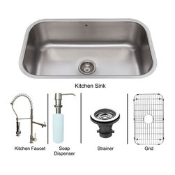 "Vigo - Vigo All in One 30 Undermount Stainless Steel Kitchen Sink and Faucet Set - Vigo VG15282 All in One 30"" Undermount Stainless Steel Kitchen Sink and Faucet Set, Stainless Steel"