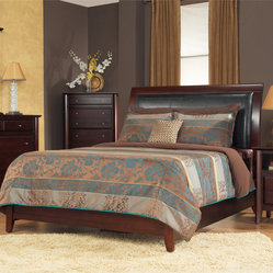 Padded Synthetic Leather Queen-size Sleigh Bed