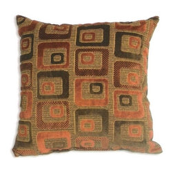 """Canaan - Cavalli Chenille Orange Squares Pattern Print 20"""" x 20"""" Throw Pillow - Cavalli chenille orange squares pattern print 20"""" x 20"""" throw pillow. Measures 20"""" x 20"""" made with a blown in foam. These are custom made in the U.S.A and take 4-6 weeks lead time for production."""