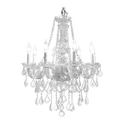 Crystal Chandelier Lighting 22W x 27H 8 Lights Fixture Pendant Ceiling Lamp, Chr - This crystal chandelier radiates with pure beauty. If you are seeking a dramatic, yet elegant addition to your home, look no further than this charming chandelier. Boasting eight brilliant lights and an eye-catching sparkling crystal display, attention to detail and traditional elegance are not spared here on this stunning glass-armed chandelier. Patterned after classic designs from the Victorian era, this fixture features gracefully contoured glass arms, a detailed-rich glass body, cut-glass bobeches, and a generous array of luxurious hand-cut European crystal prisms. This fixture is ideal for dining rooms, living areas, entryways, bedrooms, or even bathrooms!