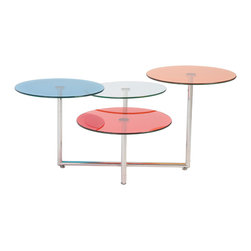 Euro Style - Grayson Glass Coffee Table - Color! The Grayson Table is a unique design and uniquely entertaining. The 4 colorful tops invite conversation as well as attention. Wherever you place this rainbow of color, the space will feel lighter and brighter.