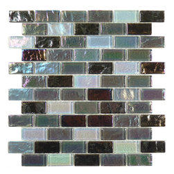 "Glass Tile Oasis - Dusk 1"" x 2"" Grey Splash Series Glossy & Iridescent Glass - Sheet size:  11 3/4"" x 11 3/4""        Tile Size:  7/8"" x 1 7/8""        Tiles per sheet:  66        Tile thickness:  1/4""        Grout Joints:  1/8""        Sheet Mount:  Mesh Backed     Sold by the sheet     -"