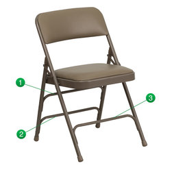 Flash Furniture - Hercules Series Curved Triple Braced & Quad Hinged Upholstered Metal Folding Cha - The Triple Braced HERCULES Series Folding Chairs are our best folding chairs ever. When in need of temporary seating this heavy duty beige metal frame chair with beige fabric padded seat and back is perfect. This portable folding chair can be used for Parties, Graduations, Sporting Events, School Functions and in the Classroom. This chair will be the perfect addition in the home when in need of extra seating to accommodate guests. The chair will not take up anywhere near as much space as chairs that cannot fold when it comes time to clean up. This economically priced chair will endure some heavy usage with an 18-gauge steel frame, triple braced and leg strengthening support bars.