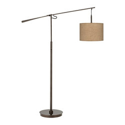 "Lamps Plus - Contemporary Woven Burlap Bronze Balance Arm Floor Lamp - Balance arm floor lamps are ideal for adding style and lighting function to seating areas and small rooms. This slim profile design features a warm tiger bronze finish on the base pole and balance arm. Adjust the arm as desired to put light just where you need it for reading or other tasks. The stylish woven burlap uno shade is hand-assembled by our artisans in California. On-off switch on the main column. Balance arm floor lamp. Tiger bronze finish. Hand-assembled shade. Woven burlap fabric shade material. On/off switch on the main column. Maximum 100 watt or equivalent bulb (not included). 73"" maximum height with arm extension. 55 1/2"" long balance arm. 33"" extension from center pole. 15"" wide base. Shade is 13 1/2"" across the top and bottom 10"" high.  Balance arm floor lamp.  Tiger bronze finish.  Hand-assembled shade.  Woven burlap fabric shade material.  On/off switch on the main column.  Maximum 100 watt or equivalent bulb (not included).  73"" maximum height with arm extension.  55 1/2"" long balance arm.  33"" extension from center pole.  15"" wide base.  Shade is 13 1/2"" across the top and bottom 10"" high."