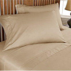 1000TC Egyptian Cotton Sheet Set 4pc Taupe - FREE USA SHIPPING