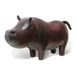 Jonathan Adler Hippo in Leather Animals - This charming leather hippo is a great pal to have around, whether he's hanging out in a kid's room or used as a footstool in the family room.