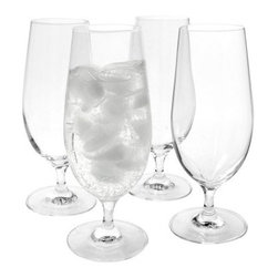 Artland Inc. Veritas Water Glasses- Set of 4 - The Artland Inc. Veritas Water Glasses - Set of 4 are a perfect example of simple yet elegant style. Each piece features a clear, high-quality body made from durable lead-free crystal. These glasses are suitable for casual, everyday use and are dishwasher-safe for easy cleaning. Hand-wash. 16 ounces.