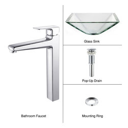 Kraus - Kraus C-GVS-901-19mm-15500CH Clear Aquamarine Glass Vessel Sink & Virtus Faucet - Add a touch of elegance to your bathroom with a glass sink combo from Kraus