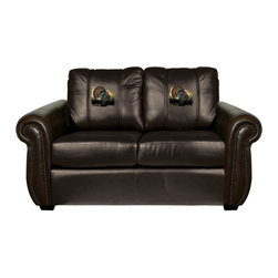 Dreamseat Inc. - Turkey Chesapeake Brown Leather Loveseat - Check out this Awesome Loveseat. It's the ultimate in traditional styled home leather furniture, and it's one of the coolest things we've ever seen. This is unbelievably comfortable - once you're in it, you won't want to get up. Features a zip-in-zip-out logo panel embroidered with 70,000 stitches. Converts from a solid color to custom-logo furniture in seconds - perfect for a shared or multi-purpose room. Root for several teams? Simply swap the panels out when the seasons change. This is a true statement piece that is perfect for your Man Cave, Game Room, basement or garage.
