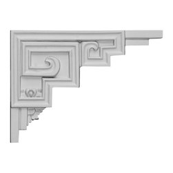 "Ekena Millwork - 9""W x 6 1/2""H x 1/2""D Austin Stair Bracket, Right - With the beauty of original and historical styles, decorative stair brackets add the finishing touch to stair systems.  Manufactured from a high density urethane foam, they hold the same type of density and detail as traditional plaster stair bracket products.  They come factory primed and can be easily installed using standard finishing nails and/or polyurethane construction adhesive."