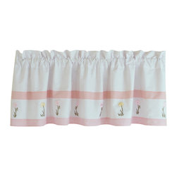 Pem America - Tara Stripe Valance - Fresh stripes in pink and white with rows of embroidered flowers with satin highlights.  Using a standard horizontal stripe pattern as the base, Tara's Stripe adds the details you want to see in a quality quilted bedding. Valance measures 18 inches high by 70 inches wide with 3 inch rod pocket. 100% cotton face material. Machine wash cold/gentle, do not bleach, tumble dry low.