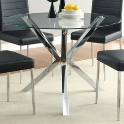 Coaster - Vance Dining Table, Chrome - Cool style to refresh any home, the clean lines and modern look of the Vance collection feature a bold chrome leg base and a clear, round tempered-glass top. The matching black or white chairs feature a shiny chrome finish on the trim chairs legs for a sleek style in your kitchen or dining room.